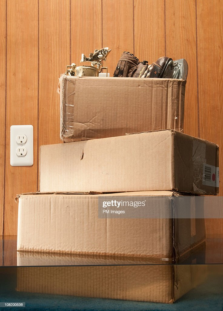 Storage Boxes In Flooded Basement : Stock Photo