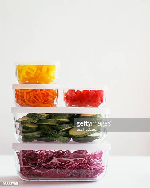 Storage containers , and cut vegetables