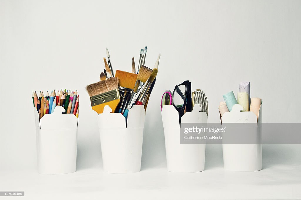 Storage containers for art and craft : Stock Photo