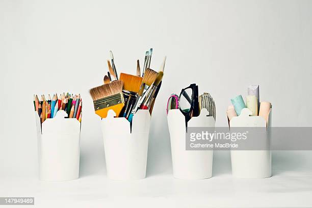 storage containers for art and craft - catherine macbride stock photos and pictures