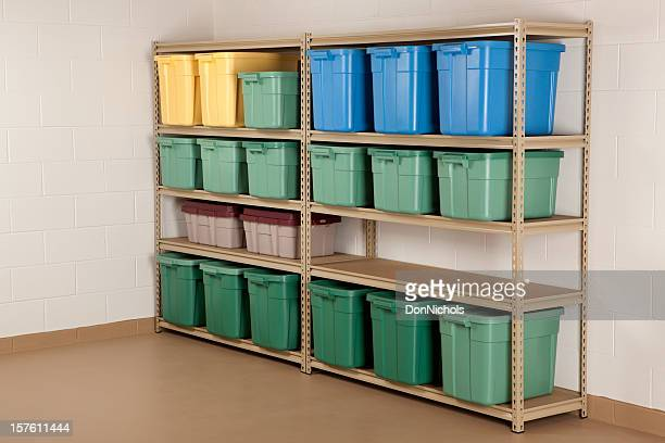 storage containers on shelf - storage compartment stock pictures, royalty-free photos & images