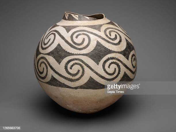 Storage Jar with Horizontal Bands of Interlocking Scrolls, A.D. 875/1130, Ancestral Pueblo , Black Mesa Black-on-white, Kayenta area, northeastern...