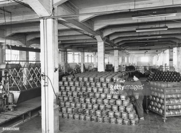 Storage of butane bottles in a metal stamping factory Spanish Industry In the same place was made the test of pressure Barcelona Catalonia Spain