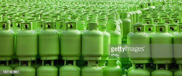 storage of butane gas cylinders - cylinder stock pictures, royalty-free photos & images