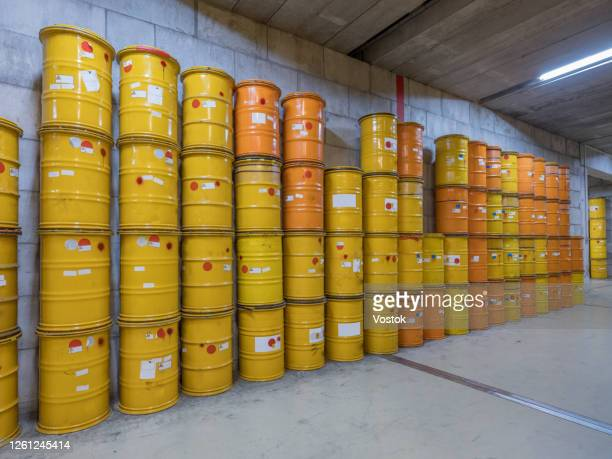 storage of nuclear waste barrels - uranium stock pictures, royalty-free photos & images