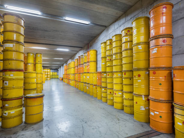 Storage of nuclear waste barrels