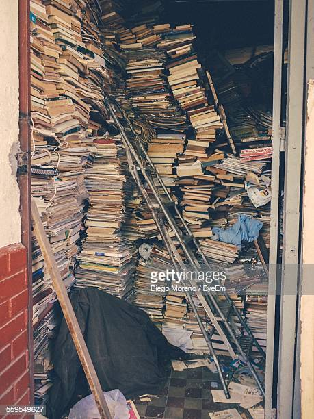 Storage Room Filled With Books And Ladder