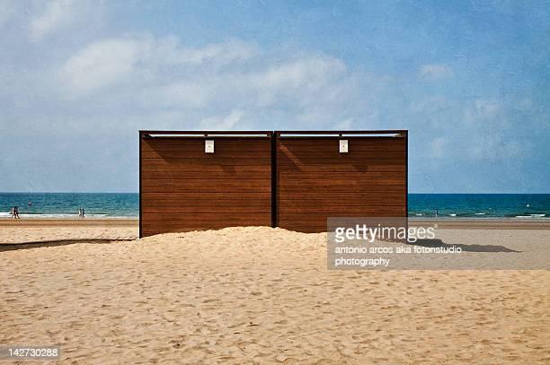 Storage sheds on beach