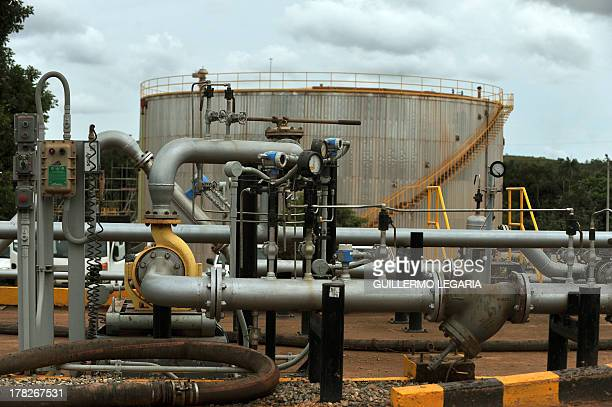 A storage tank at Colombia's main oilfield Rubiales in Meta department Colombia on August 27 2013 AFP PHOTO/Guillermo Legaria