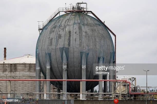 Storage tank at the Saudi Basic Industries Corp. Terminal on the River Tees in Teesside, U.K, on Wednesday, Nov. 11, 2020. The U.K. Economy expanded...