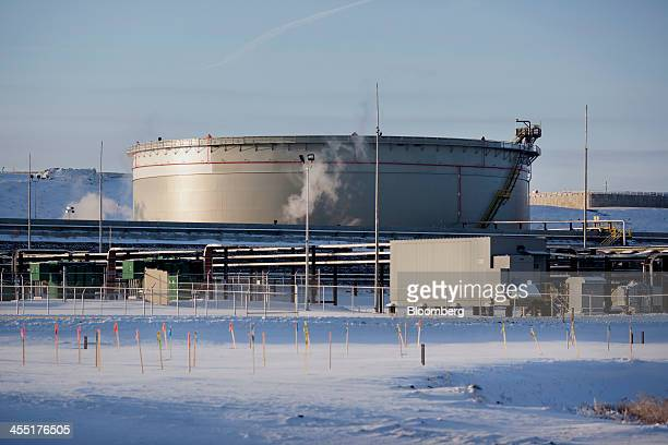 A storage tank stands at the TransCanada Corp Hardisty Terminal 2 currently under construction in anticipation of the Keystone XL pipeline approval...