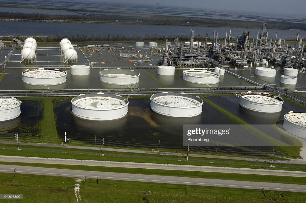 Storage Tanks And Refinery Equipment Are Flooded At The Alliance Refinery  In Belle Chasse, Louisiana