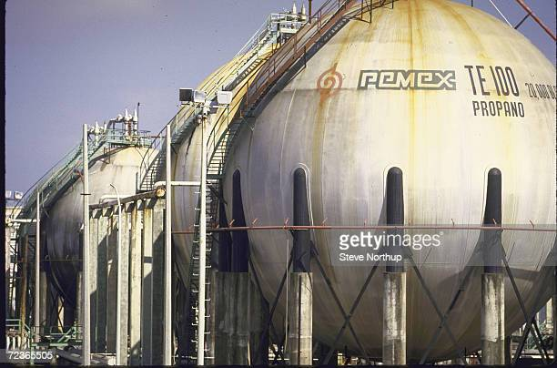 Storage tanks at Pemex oil refinery
