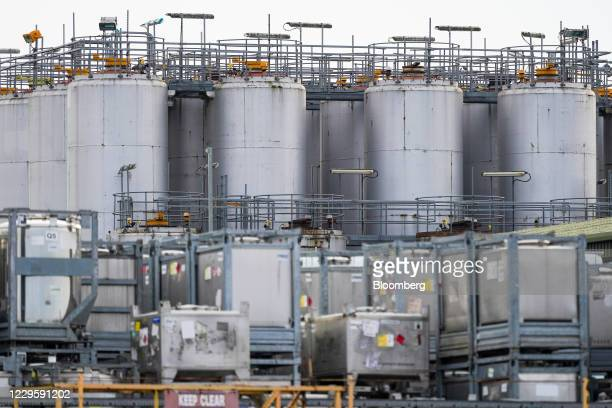 Storage tanks at the MP Storage and Blending Ltd. Facility on the banks of the River Tees in Teesside, U.K, on Wednesday, Nov. 11, 2020. The U.K....
