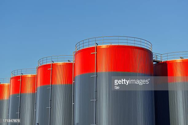 storage tanks - red tube stock pictures, royalty-free photos & images