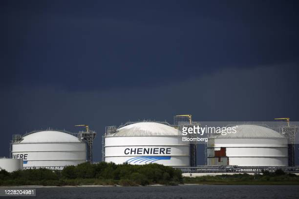 Storage tanks stand the Sabine Pass LNG Export Terminal ahead of Hurricane Laura in Sabine Pass, Texas, U.S., on Tuesday, Aug. 25, 2020. Hurricane...