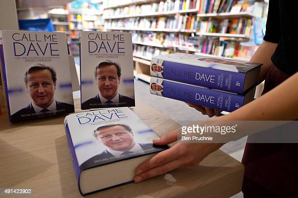 A store assistant restocks copies of Call Me Dave at Foyles bookshop on October 5 2015 in London England Today Lord Ashcroft's biography of British...