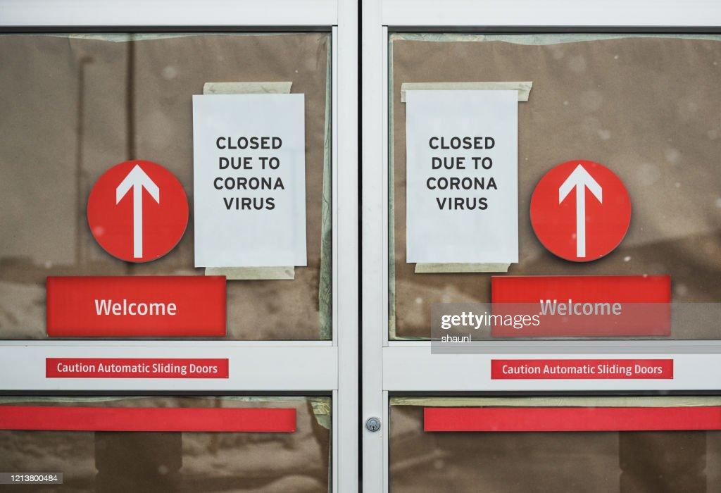 Store Closed Due to Coronavirus : Stock Photo