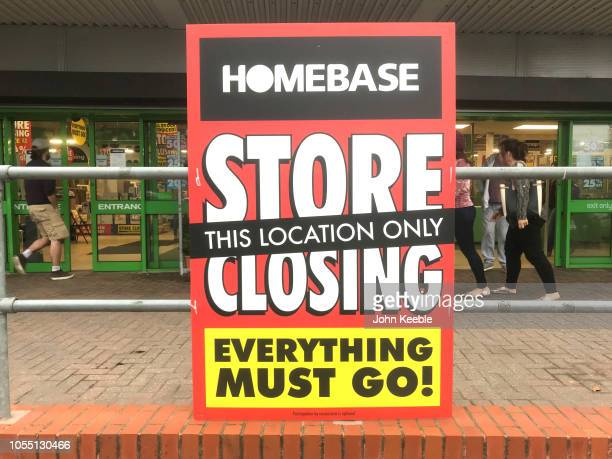 Store closing sign stating everything must go is displayed outside the Southend Homebase store on October 14 2018 in Southend England Homebase is to...
