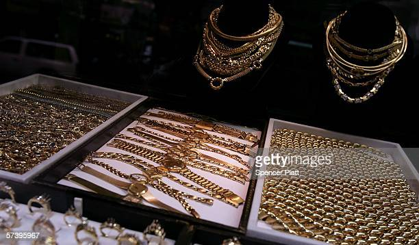 A store displays gold jewelry April 21 2006 in New York City The price of gold rose to $63260 a troy ounce Wednesday the highest since 1980 Gold is...