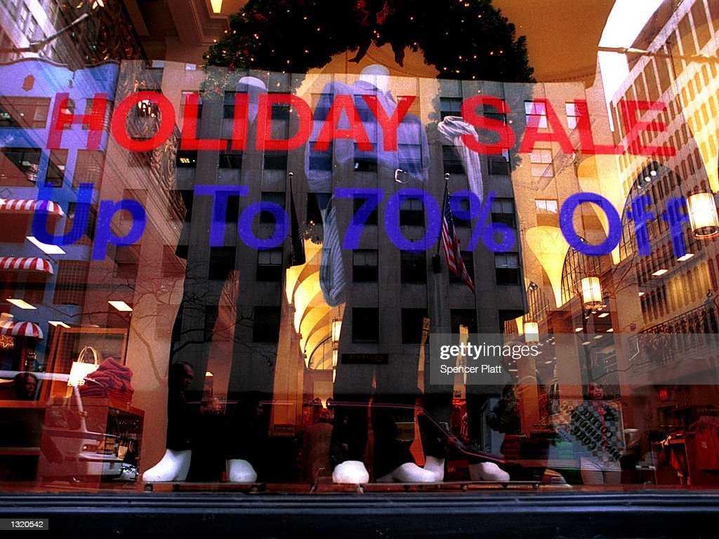 a store displays holiday sales december 19 2000 on madison avenue
