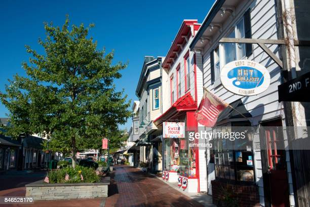 store facades at washington street mall in cape may - cape may stock pictures, royalty-free photos & images