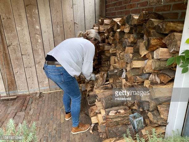 store firewood for the winter - northern european descent stock pictures, royalty-free photos & images