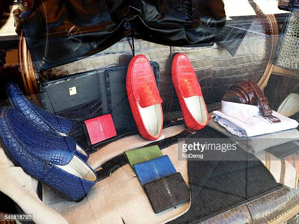 store front window display on worth avenue - gucci shoe stock pictures, royalty-free photos & images