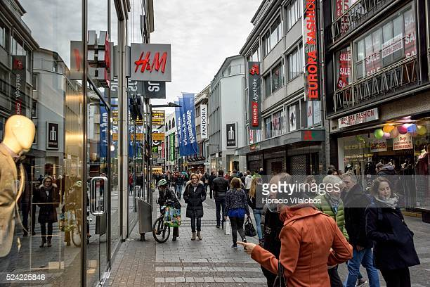 HM store in Hohe Strasse a main shopping street in Cologne Germany 09 November 2014 Hohe Strasse starts at the foot of the cathedral and leads into...
