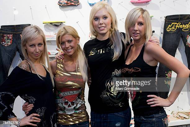 Store manager Jacqui Rajic Tara Reid Amy Cairns and Krystal Valentine attend the launch of the 'ED HARDY' boutique store on december 12 2007 on the...