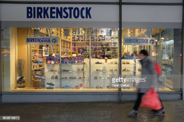 Store of German shoes and sandals brand Birkenstock stands on January 11, 2018 in Berlin, Germany. Much of the German consumer goods and foodstuffs...