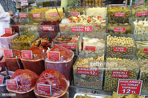 store of pickles and spices in istanbul - pickled stock photos and pictures