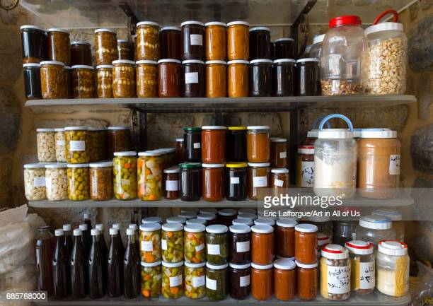 Store of pots of jam of different flavors and honey South Governorate Jezzine Lebanon on May 2 2017 in Jezzine Lebanon