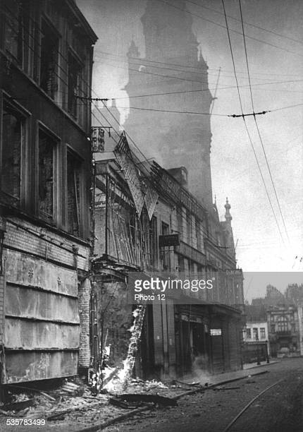 Store on fire in the streets of Dunkirk June 1940 France World War II Washington National archives