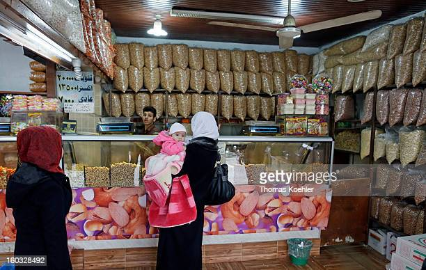 A store selling various roasted seeds and nuts which are a popular snack food with the Lebanese people pictured on December 22 2012 in Beirut Lebanon