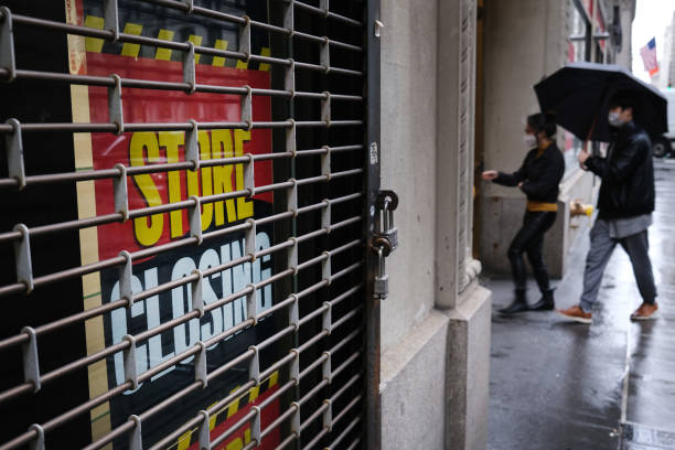 Store stands closed near Wall Street as the coronavirus keeps financial markets and businesses mostly closed on May 08, 2020 in New York City. The...