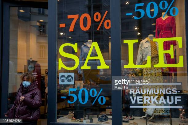 A store to be closed offers a sale on November 10 2020 in Berlin Germany Germany has closed restaurants bars cinemas museums theatres concert halls...