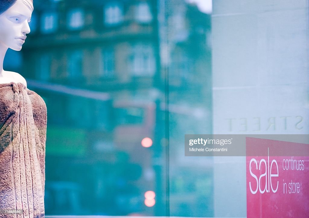 Store window during sale : Stock Photo
