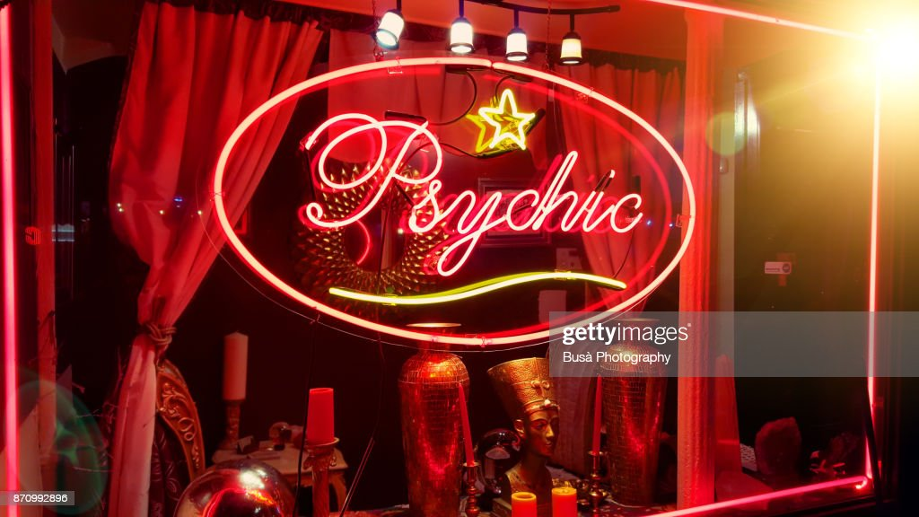 Store window of a psychic parlor in the East Village, Manhattan, New York City : Stock Photo