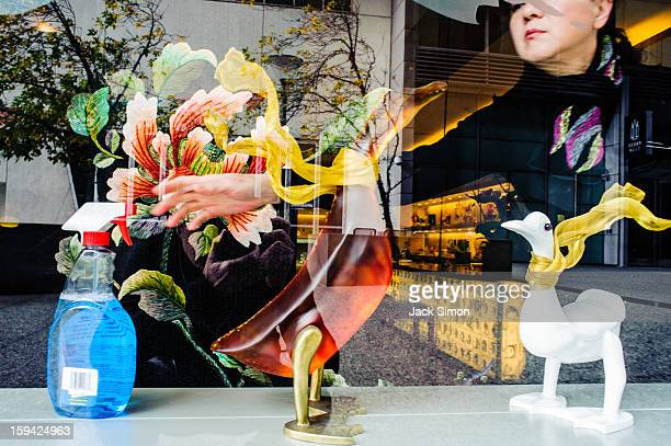 Store window, woman reaching for cleaning fluid which resembles glass birds for sale.
