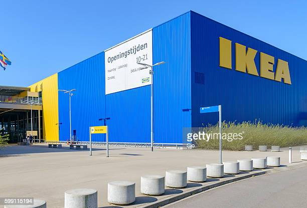 IKEA store with the IKEA name in yellow and blue