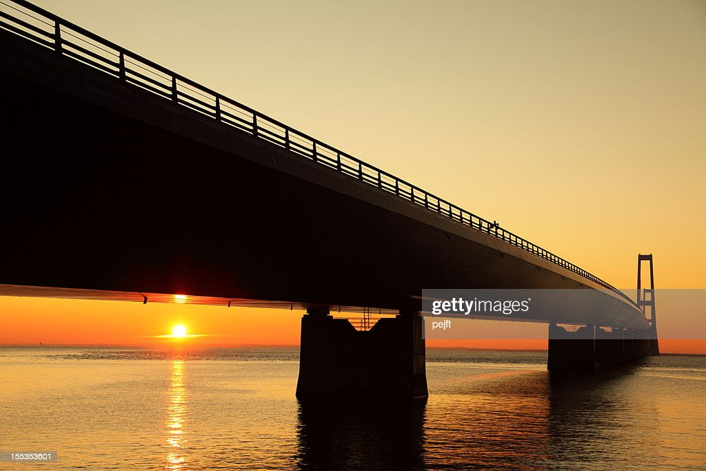 Storebæltsbroen - A Great bridge at sunset! : Stock Photo