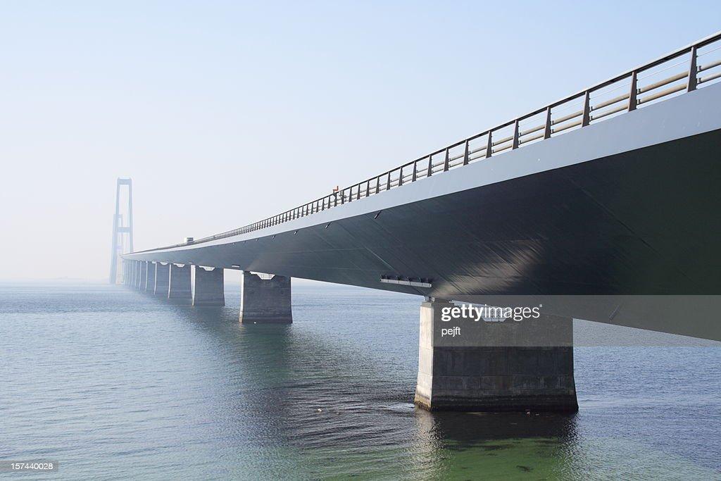 Storebæltsbroen - Great bridge on a misty spring day. : Stock Photo