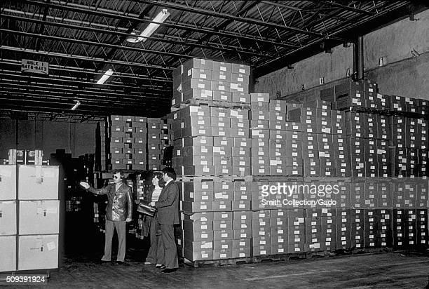 Stored boxes of swine influenza vaccine. Stored boxes of swine influenza vaccine. Image courtesy CDC. 1974. .