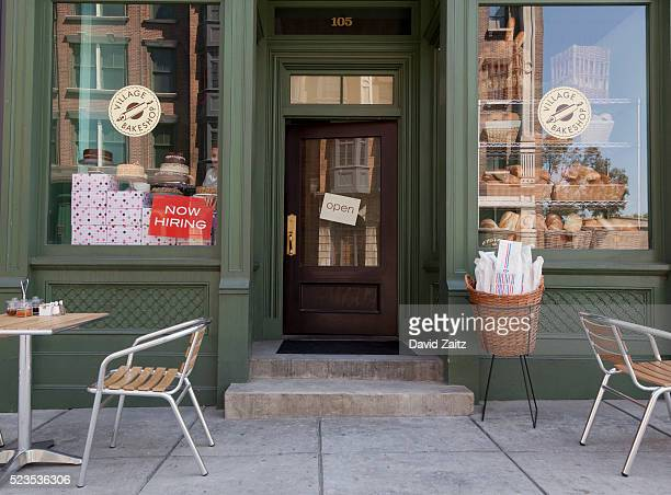storefront door and window display - opening event stock pictures, royalty-free photos & images