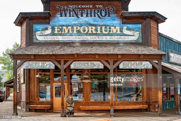 storefront in historic downtown winthrop washington usa - fachada supermercado imagens e fotografias de stock