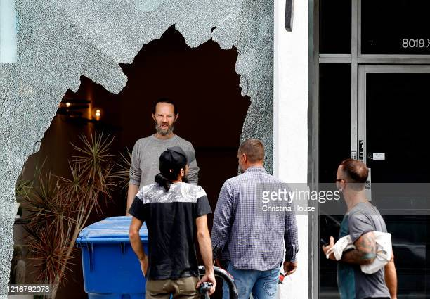 A storefront on Melrose Avenue is shattered on Sunday May 31 2020