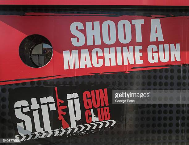 A storefront promoting the Strip Gun Club on South Las Vegas Blvd is viewed on June 7 2016 in Las Vegas Nevada Tourism in America's 'Sin City' has...