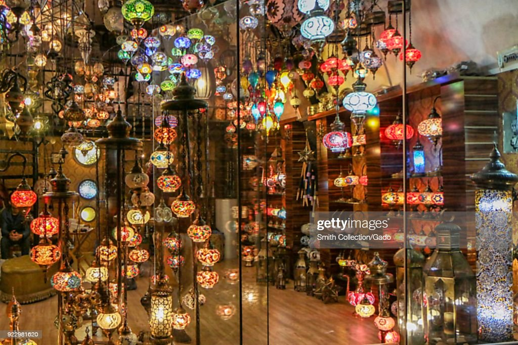 Asian chandeliers pictures getty images storefront with large number of colorful asian chandeliers egyptian spice bazaar istanbul turkey mozeypictures Choice Image