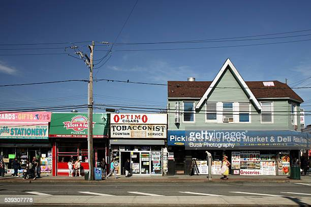 storefronts along beach 116th street, seaside, rockaway beach, queens, new york city - queens new york city stock pictures, royalty-free photos & images